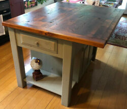 Farmhouse Kitchen Island Storage Cabinet With Beautiful Reclaimed Wood Top