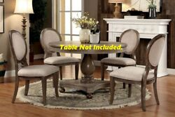 6pc Set Side Chairs Ivory Upholstered Seat Round Back Rustic Oak Wood Frame Legs