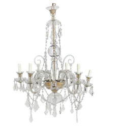 Tall Neoclassical Blown And Cut Clear Glass Nine Light Chandelier