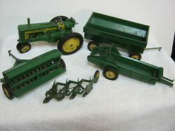 Vintage John Deere Toy Metal Tractor With Four Matching Attachments, Rare