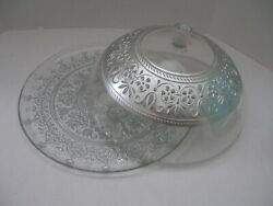 Antique Glass Wedding Cake Plate With Dome Silver Ornate Graphics Rare
