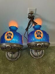 Vintage Pabst Blue Ribbon 2 Lighted Wall Lamps Sconce Bar Light Rare
