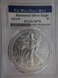 2018 W American Silver Burnished Eagle Struck West Point Sp 70 Pcgs Sku 722g