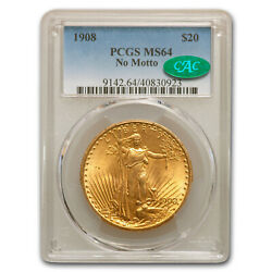 1908 20 St. Gaudens Gold Double Eagle No Motto Ms-64 Pcgs Cac - Sku151718