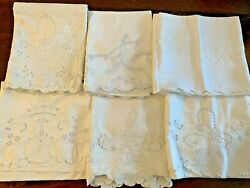 Vintage Lot 7 Queen King Embroidered Pillowcases Scallops Cotton Linen Blend