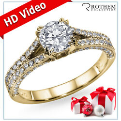 New Year Gift For Wife Diamond Ring 1.70 Ct F Si2 14k Yellow Gold 51510057