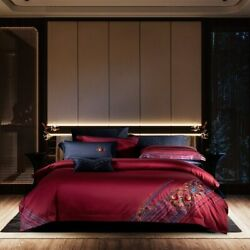 1000tc Egyptian Cotton Vintage Bedding Sets Dark Red Embroidery Duvet Cover New