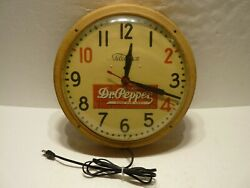 Vintage Telechron Dr. Pepper 10-2-4 Advertising Electric Wall Clock Sign Works