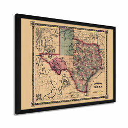 1866 Texas Map - Framed Vintage State Of Texas Map Wall Art Poster Print