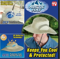 Arctic Caps Ice Hat Wide Brim Cap, W/ Uv Protection Cooler Sunscreen Cooling Hat