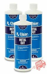 Rx Clear Swimming Pool And Spa Metal Out Chemical 1 Qt Bottle - 3 Pack, Big Sale