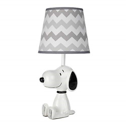 Lambs And Ivy Snoopy Lamp With Shade And Bulb - White/black/gray