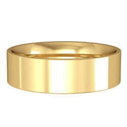 Jewelco London 18ct Yellow Gold 6mm Flat-court Wedding Band Commitment Ring