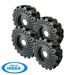 10x16.5 Solid Skid Steer Tires Flat Proof Set Of 4 With Rims 10-16.5