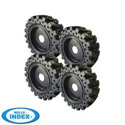 12x16.5 / 33x12-20 Solid Skid Steer Tires Set Of 4 With Rims