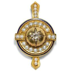 Antique Medallion Pendant With Diamonds, Email And Pearls In 585 Gold, Um 1870