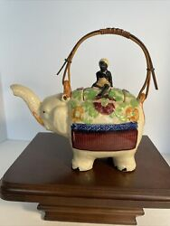 Vintage Hotta Yu Shoten And Co Hand Painted In Japan Teapot Elephant With Rider