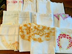 Vintage Lot 13 Standard/ Queen Embroidered Pillowcases Scallops Cotton 2 Pairs