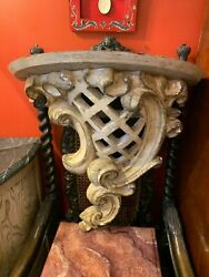 Early 20th Century Large Carved Polychrome Painted Wall Bracket Console Table