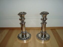 Pair Antique Early 19th C Old Sheffield Silverplate Telescoping 8 Candlesticks