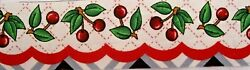 LOT OF 2 MARY ENGELBREIT COTTON RED CHERRY SCALLOP FABRIC BORDER STRIP 2quot; X 1 YD
