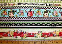 CHOOSE 1 : MARY ENGELBREIT HAPPINESS LACE FLORAL COTTON FABRIC BORDER STRIP