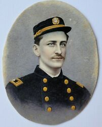 Antique Police Man Miniature Portrait Painting American Officer 19th Century Wow