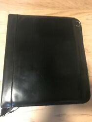 Black Leather 1.1/2 Monarch Leather Binder With Handles