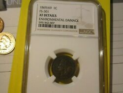 1869/69 Indian Head Cent Penny - Ngc Extra Fine Details Cond  Lot 2021-18