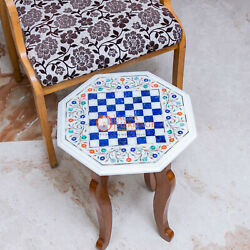 Marble White Chess Set With Stand Top Table Lapis Inlaid Mosaic Art Gift For Her