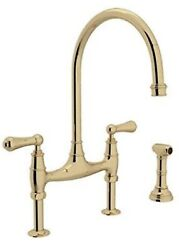 Rohl U.4719l-ulb-2 Perrin And Rowe Bridge Kitchen Faucet -unlacquered Brass