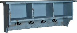 Rustic Cottage Wall Shelf With 8 Coat Hooks And 3 Storage Cubbies, Blue Antique