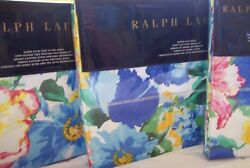 Set 4 New Ashlyn Blue Floral Queen Fitted Flat Sheet 2 Pillowcases