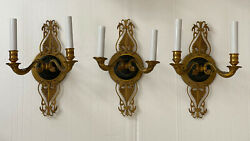 Pair + 1 Antique Gilt Brass Bronze French Empire Horn Wall Sconce Sconces Set 3