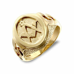 Jewelco London Mens Solid 9ct Yellow Gold Curb Links Oval Masonic Ring
