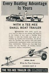 Magazine Ad - 1953 - Tee Nee Trailer Co - Youngstown Ny - Model Ob-40