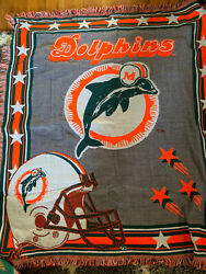 Vintage 1990s Authentic Miami Dolphins Nfl Acrylic Woven Tapestry Throw Blanket