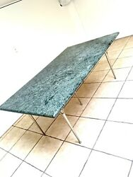 🐊simple Mid Century Modern Green Solid Marble Top Dining Table