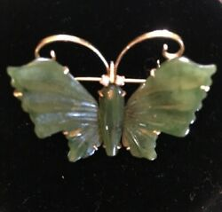 Vtg Rare 14k Yellow Gold Carved Green Jade Butterfly With Pearl Eyes 8 Gr 1965