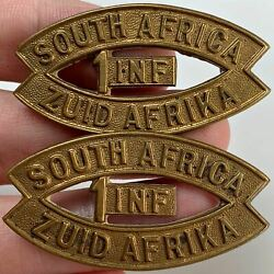 1st South African Army Infantry Division Africa Corps Shoulder Title Badge Pair