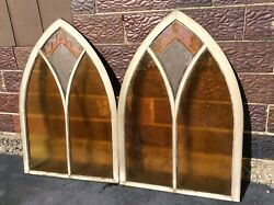 2 Same Antique Gothic Wood Framed Etched / Stain Glass Church Windows - Good