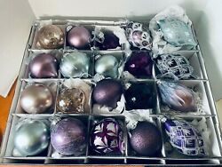 Frontgate Holiday Collection 20 Glass Ornaments 100mm 6 Blue Violet Linen Box