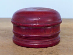 Antique Wood Turned Red Stain Shaving Soap Cup Treen Lancaster Pa Paper Label