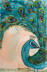 Original Painting 4x6 Peacock Bright Feathers Bird By Lynne Kohler