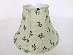 Farmhouse Green Checkered Fabric Lamp Shade With Rose Bud Print, New
