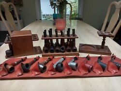 Vintage Estate Lot Of Signed Tobacco Pipes And Accessories