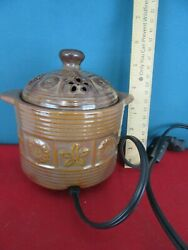 YANKEE CANDLE Electric Tart and Wax Warmer Brown w. Flowers On Off Switch