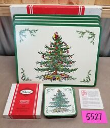 Vintage Pimpernel Cork Back Place Mats And Coasters Christmas Tree Holiday Box