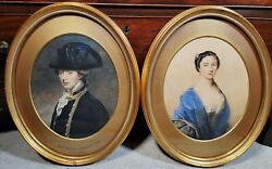 Antique Portrait Paintings English Naval Admiral Peyton And Wife 18th C. Man Woman
