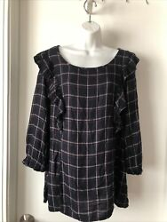 Womenandrsquos Xl Plaid Black Red Bronze Lines Ruffled Front